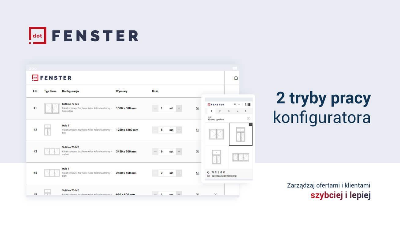 dotFENSTER window configurator – two ways of work